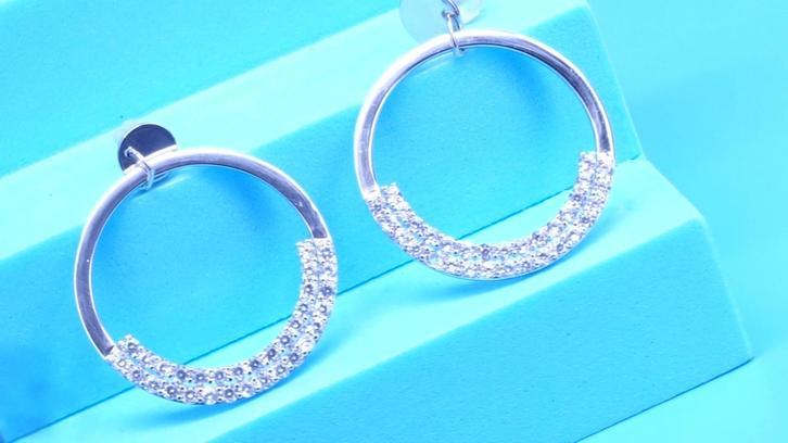 Wholesales 925 Silver silver Jewelry CZ Stone Hoop stud Earrings For Women
