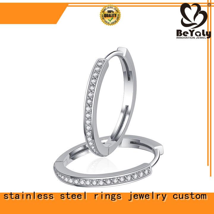 BEYALY High-quality circle diamond earrings for anniversary celebration