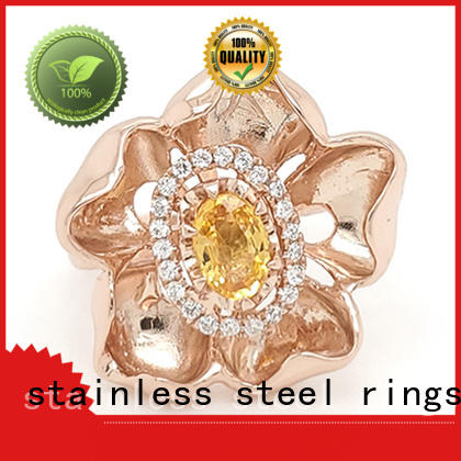 New gold inital ring stone Supply for women