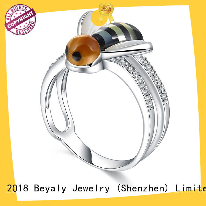 BEYALY diamond initial ring design for daily life