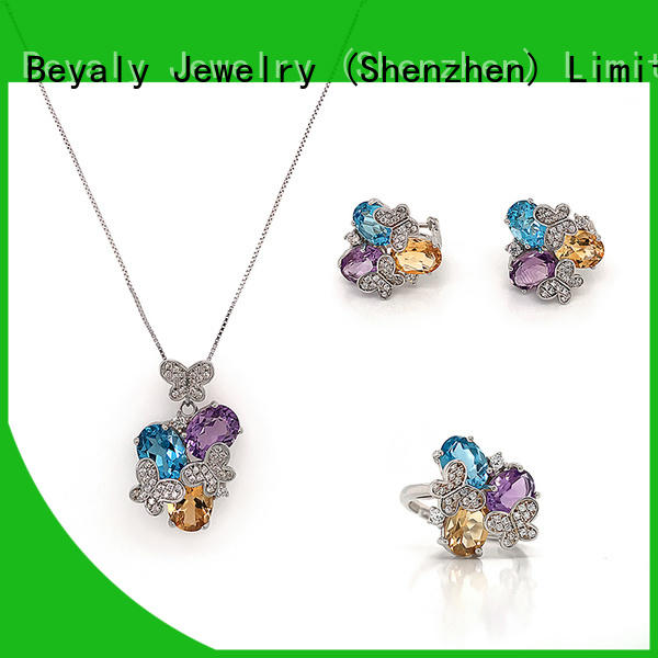 Latest purple and gold jewelry sets factory for business gift