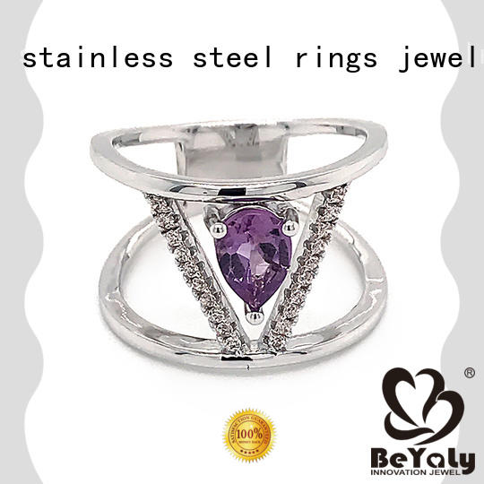 BEYALY silver sterling silver cubic zirconia rings for business for men