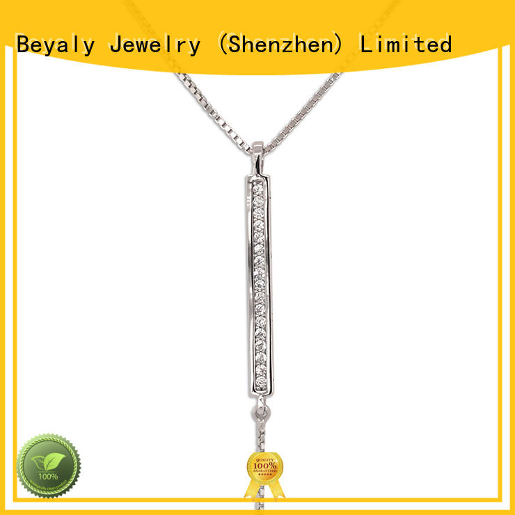 BEYALY shaped sterling silver circle pendant necklace for business