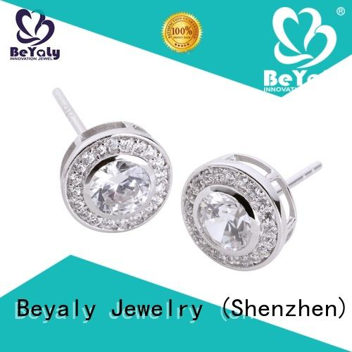 BEYALY stainless pearl stud earrings with small diamond for anniversary celebration