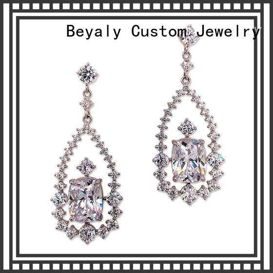 BEYALY gemstone rose gold stud earrings sale for exhibition